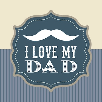 Fathers day card retro style vector illustration