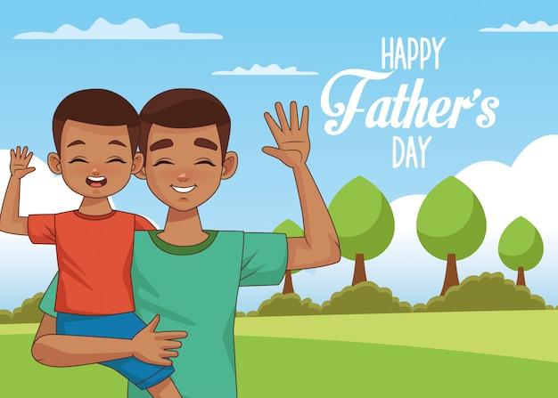 Открытка на день отца с сыном афро папа