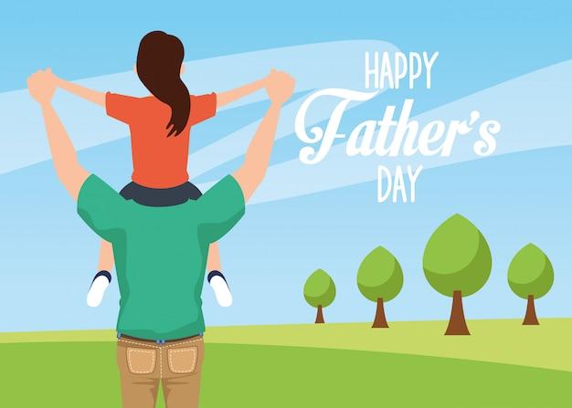 Открытка на день отцов с папой с дочерью