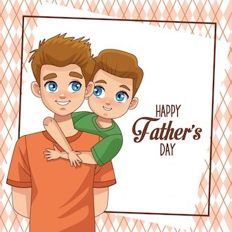 Отцов день открытка с отцом, перевозящих сына и надписи