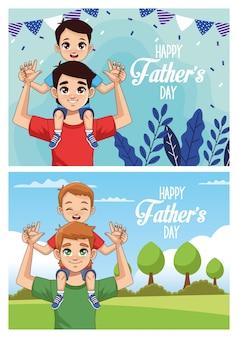 Открытка ко дню отца с папами с сыновьями