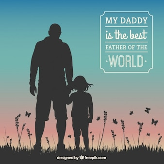 Fathers day card with human silhouettes