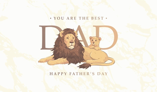 Fathers day card with lions family