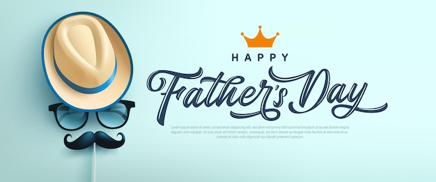 Fathers day card with symbol of hat, glasses and mustache. greetings and presents for fathers day in flat lay