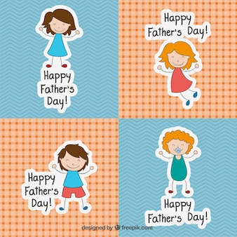 Fathers day cards in sketchy style