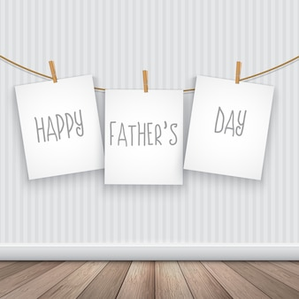 Fathers day design with hanging cards