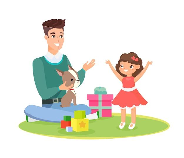 父の日、家族の概念。親の愛。家で一緒に遊ぶ娘と父