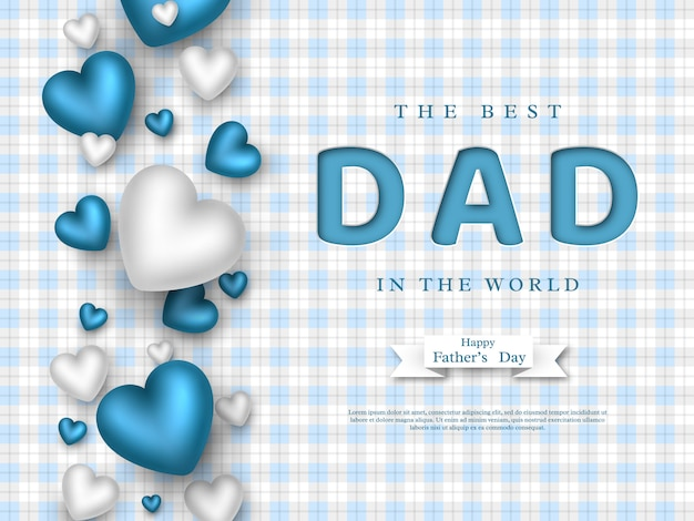 Fathers day greeting card. paper cut style letters with 3d hearts and checkered pattern. holiday background. vector illustration.
