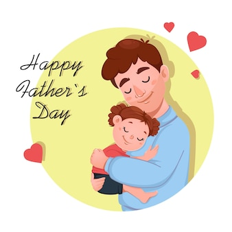Fathers day greeting card with cute daughter and her father