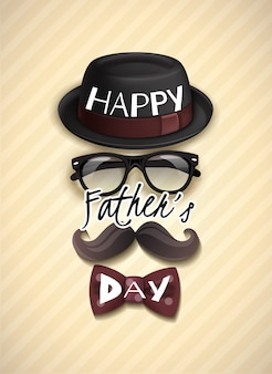 Fathers day greeting card with funny hat, glasses, mustache and bow tie