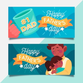 Fathers day horizontal banners