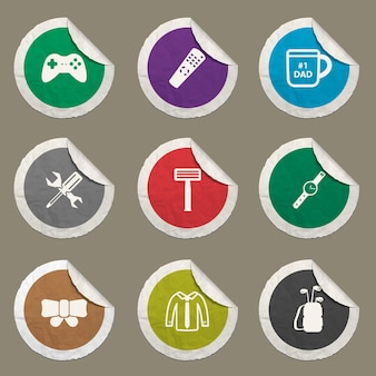 Fathers day icons set for web sites and user interface