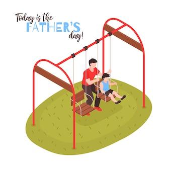 Иллюстрация ко дню отцов с папой, качающей сына на качелях