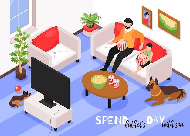 Illustrazione isometrica di giorno di padri con papà e suo figlio nell'interno di casa guardando la tv insieme