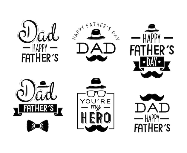 Fathers day letterings set