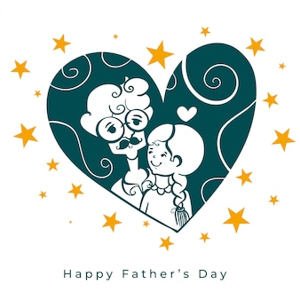 Fathers day love background with dad and daughter