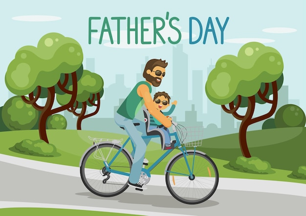 아버지 날 도시 공원에서 자전거를 타는 아이를 가진 남자 행복한 돌보는 아버지와 손으로 그린 편지로 웃는 아들