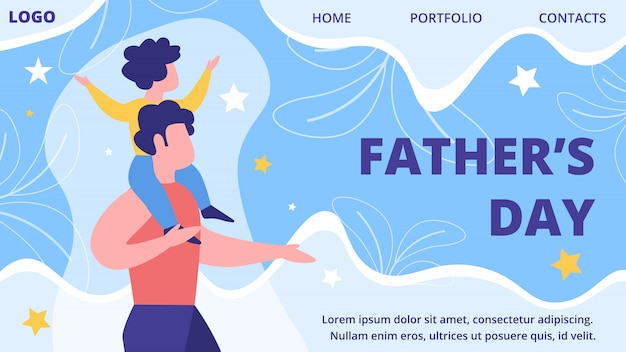 Fathers day party flat  website template