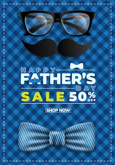 Fathers day sale banner with flatlay of glassesnecktie and gifts for dad