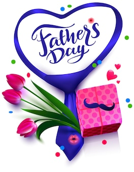 Fathers day text template greeting card flowers mustache and gift box vector illustration