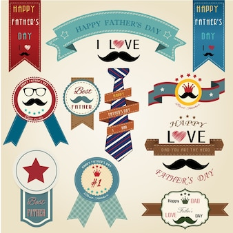 Fathers day vintage retro ribbon