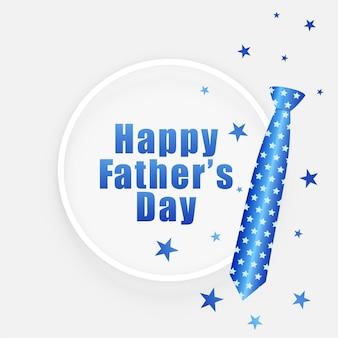 Carta di auguri di giorno di padri con cravatta e stelle