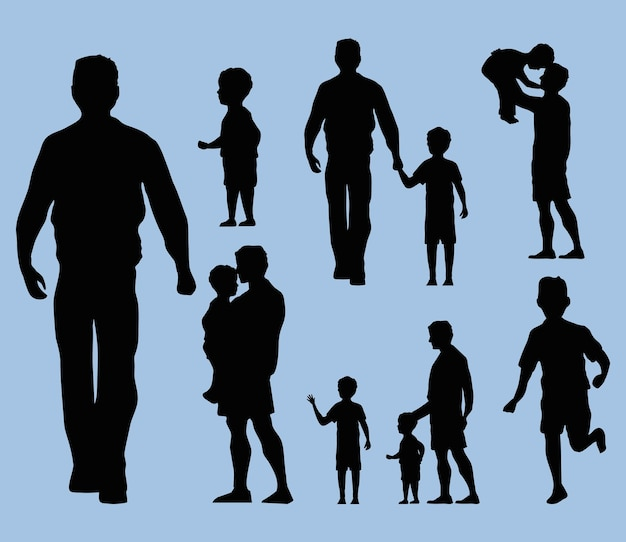 Fathers and kids silhouettes