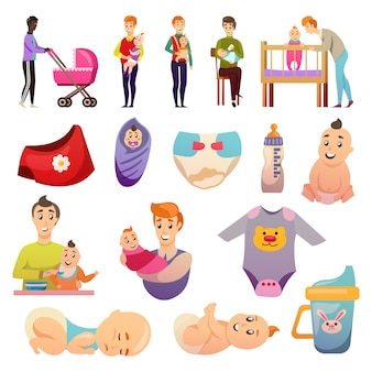 .fathers  parental leave orthogonal icons Free Vector