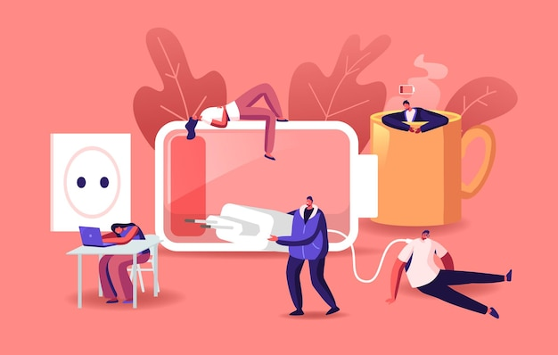 Fatigue, low energy and working burnout concept. tiny male and female exhausted business people characters sleep and relax at huge coffee cup, charger, low battery power. cartoon vector illustration