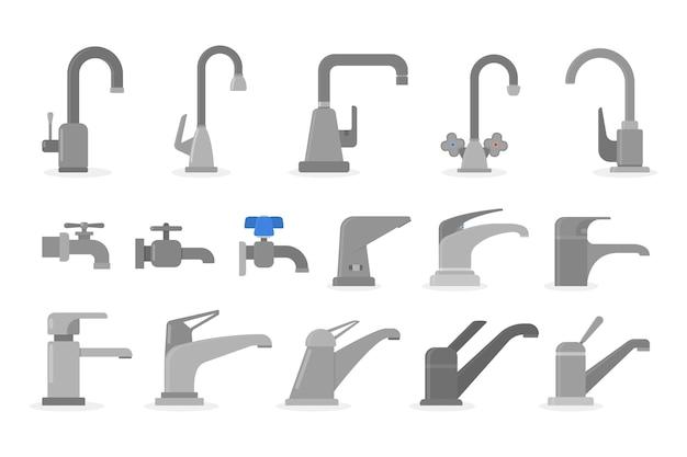 Смеситель установлен в комплекте. коллекция смесителей для кухни и ванной. водный инструмент. иллюстрация в стиле
