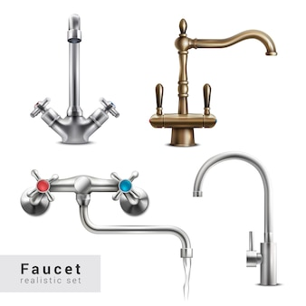 Faucet realistic set of four isolated images of various water mixers on blank  with text