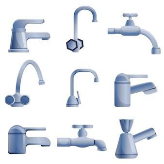 Faucet set, cartoon style