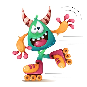Faunny, cute, crazy monscter characters. roller skater illustraton