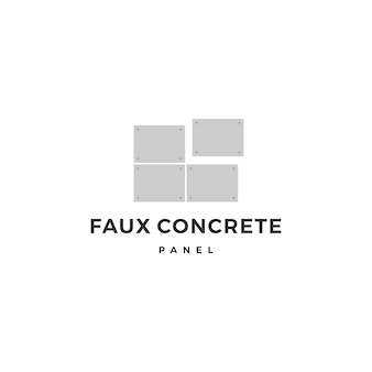 Faux concrete exposed wall panel logo vector icon illustration