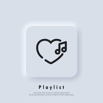 Favourite playlist icon. songs. music player. playlist logo. vector. ui icon. neumorphic ui ux white user interface web button.