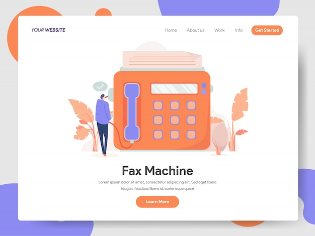 Fax machine banner of landing page