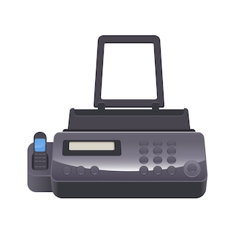 Fax machine telecopying or telefax telefacsimile, telephonic transmission of scanned printed material to telephone number connected to printer device,