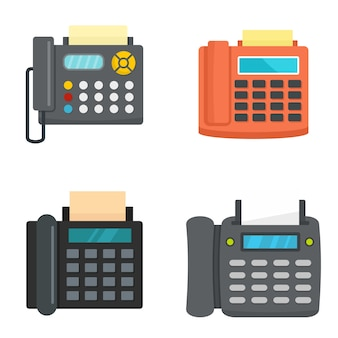 Fax machine telephone icons set