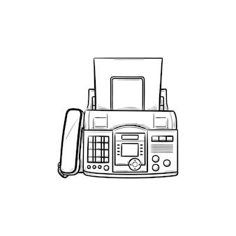 한 장의 종이 손으로 그린 개요 낙서 아이콘이 있는 팩스 기계. 비즈니스 커뮤니케이션 기술 개념