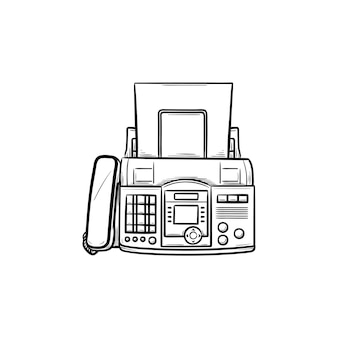 Fax machine with a sheet of paper hand drawn outline doodle icon. business communication technology concept