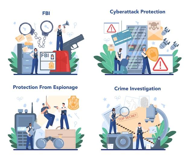 Fbi agent concept set with police officer or inspector investigating crime