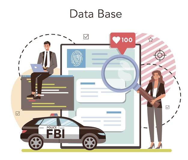 Fbi 요원 온라인 서비스 또는 플랫폼. 온라인 데이터베이스. 평면 벡터 일러스트 레이 션