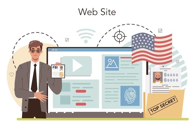 Fbi 요원 온라인 서비스 또는 플랫폼. 경찰이나 검사