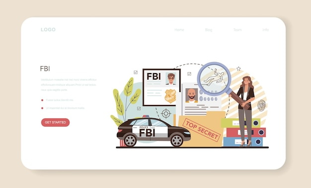 Fbi 요원 웹 배너 또는 방문 페이지. 범죄를 조사하는 경찰이나 수사관. 간첩, 사이버 공격 및 테러리스트의 보호. 격리 된 평면 벡터 일러스트 레이 션