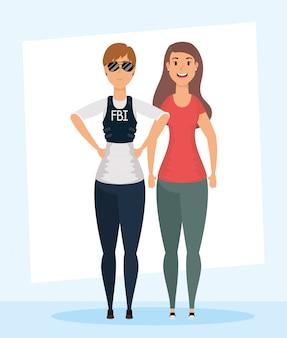 若い女性のfbiエージェントと女の子のキャラクター
