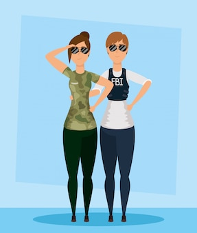 軍のキャラクターを持つ若い女性fbiエージェント