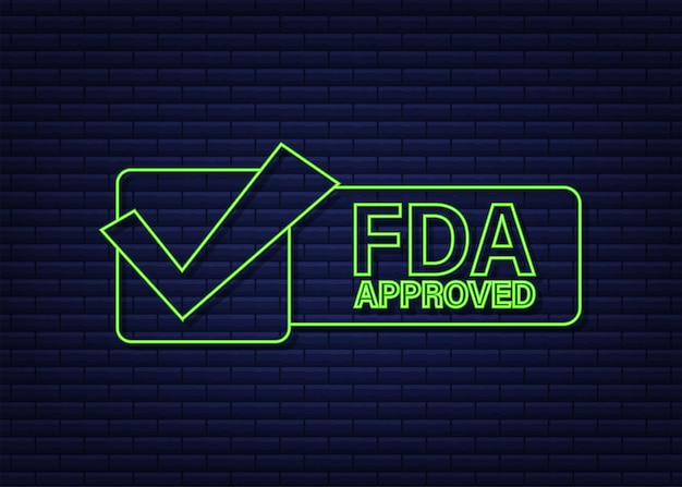 Fda approved neon rubber stamp on white background. vector illustration.
