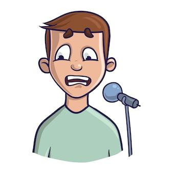人前で話すことへの恐怖、グロソフォビア。興奮と声の喪失。マイクを持った若い男。白い背景の上の図。