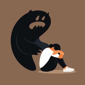 恐怖またはパニック発作。頭を下げた悲しい女性が自分の影に怯えていた。うつ病、孤独、不安の概念。