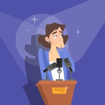 Fear of public speaking. woman is afraid